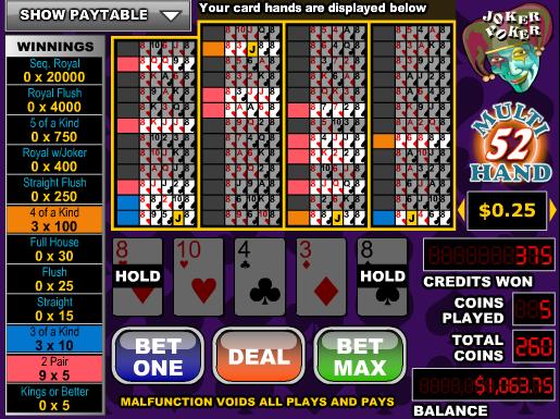 Joker Poker-52 Hand
