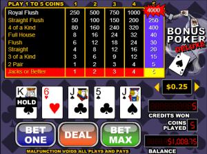Bonus Poker Deluxe Videopoker Online
