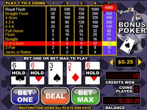 Bonus Poker Videopoker Online