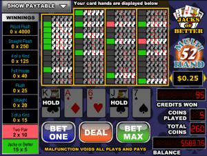 Videopoker Online Jacks Or Better- 52 Hand
