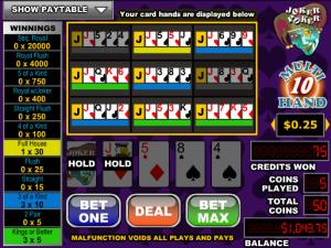 Videopoker Online Joker Poker-10 Hand