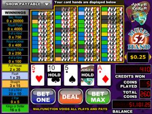 Videopoker Online Joker Poker-52 Hand