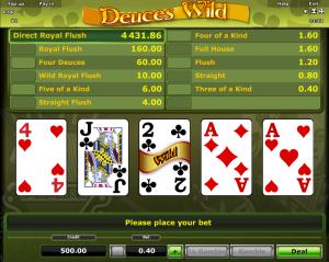 Play Videopoker Deuces Wild Novomatic Online